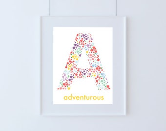 Letter A for Adventurous Kids Art Print