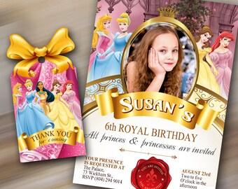 Princess Birthday Invitation, Princess invite, Princess invitation, Princess Photo Invitation, Thank you tag, Disney princess invite,