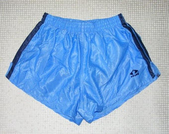 Size S vintage 80s high cut baggy sprinter running shorts shiny baby blue (IA07)