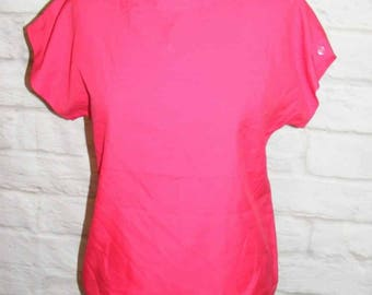 Size 8 vintage 80s batwing cap sleeve button shoulder blouse silky pink (HE66)