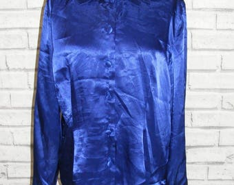 Size 16 vintage 80s fitted long sleeve blouse plain dark blue satin (HY98)