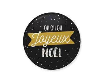 Magnet or Badge. Oh oh oh Merry Christmas. Gold, Christmas gift, Christmas decoration
