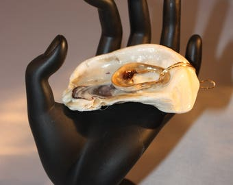 GritTreasures Original, One-of-a-Kind, Handpicked Oyster Shell Pendant