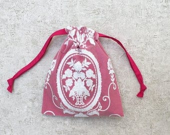 Pink smallbag white lace lined with cotton - cotton bag