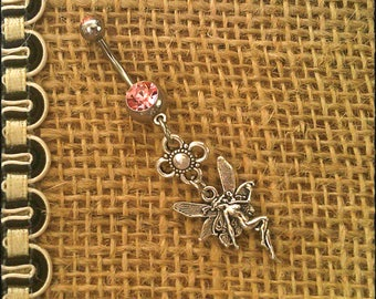 Handmade - Pink - Unique Flower Fairie/Fairy Bohemian - Double Gem Dangle Navel/Belly Bar/Ring - High Grade Surgical Steel - 10mm Bar