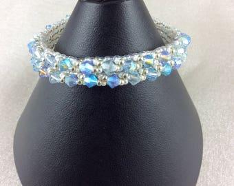 "The ""Violette"" Swarovski crystal bracelet in lavender and aquamarine"