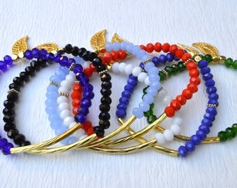 Katherine Dangle Bracelets // Bar Czech Glass Beads Beaded Leaf Dangle Elastic // Gold Plated Beaded Bracelet