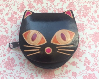 Vintage Leather Cat Face Coin Purse