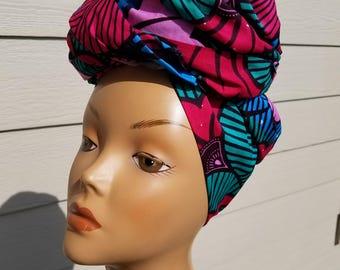 Multicolor Head wrap; Pink African Headwrap; African Clothing; African Fabric Headwrap; African Scarf; Fabric Headwrap: Headwrap; Head tie