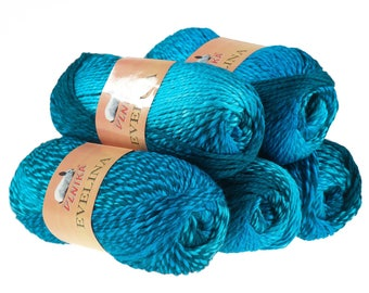 5 x 100 g yarn EVELINA, #383 blue tones