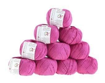 10 x 50 g knitting wool cotton Pearl, #457 fuchsia