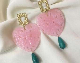 Resin heart drop earrings with green jade