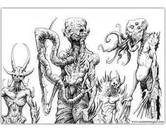 SCARY SKETCHES - 5 x A5 Prints