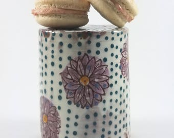 Handmade Ceramic Cupcake Stand, Dessert Stand with Purple Flowers