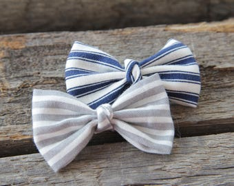 Set of two Striped bow hair clips; blue and gray hair clips