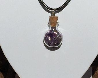 Purple (amethyst) crystal filled wish bottle pendant necklace