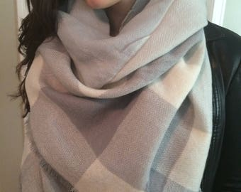 trendy grey plaid ,Popular Trendy,Beautiful triangle Blanket Scarf for Women, Zara Tartan Inspired,Oversized Large Unique