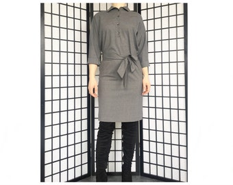 Midi dress/ Wool dress/ Shirt dress/ Grey dress/ Casual dress/ Tunic/ Long sleeve dress/ Tunic dress/Dress women/ Collar dress with belt