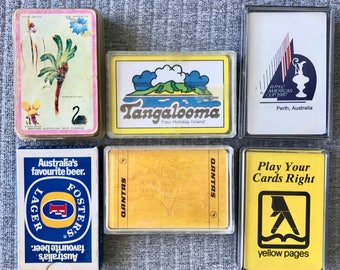 Set of 6 Australian Tourism Playing Card Decks Qantas, Yello Pages, Tangalooma Island, Fosters Beer, Americas Cup 1987, Western Australia