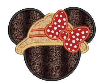 Safari Minnie Mouse Applique Design - Minnie mouse head applique - Disney embroidery design - Machine embroidery - Applique for girls