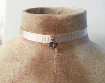 Purple jewel pendant - Marcella choker