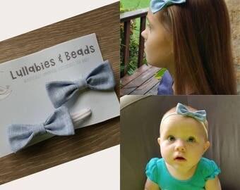 Blue linen Baby bow headband and hair clip