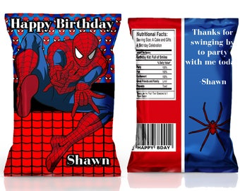 Spiderman chip bag, Spiderman birthday favors, Spiderman party bags, Spiderman birthday supplies---DIGITAL FILE ONLY!!