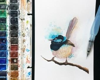 Original Fairy Wren Watercolour Painting on 185gsm A5 Watercolour Paper