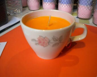Tea Cup Soy Candle Essential Oils Hand Crafted All Natural Scented: Orange Patcholoui in a Tea Cup
