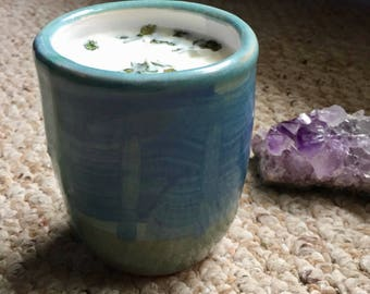 Handpoured Soy Candle | Wheelthrown Green and Blue Ceramic Pottery with Stripes | Unscented Candle with Herbs