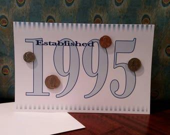 1995 Coin Greeting Card, 1995 Coin Birthday Card, Coin Card, 1995 Coin Card, 1995 Coins, Born in 1995, 1995 Gift, 1995 Birthday Card, 1995