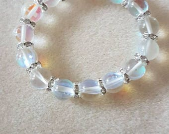 Glass clear quartz bead and diamante spacer bracelet