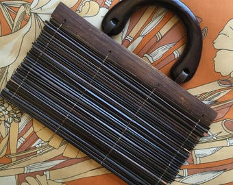 Vintage HAWAIIAN Bamboo Stick Wooden Handle Purse