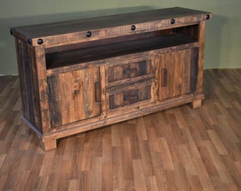 rustic reclaimed solid wood tv stand media console or sofa table
