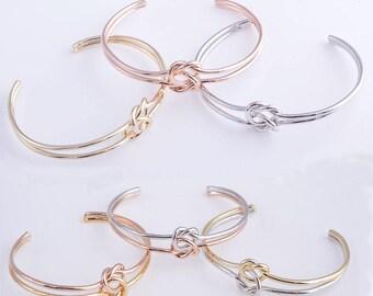 Knot bracelet,bridesmaid bracelet,double knot bracelet,tie the knot bracelet,gold bracelet,rose gold bracelet ,silver bracelet