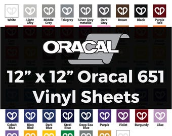 Oracal 651 Vinyl Sheets - 12x12 Sheets, 651 Vinyl Sheets, Outdoor Vinyl Sheets, Vinyl Adhesive Sheets, 651 Oracal Vinyl, Permanent Vinyl