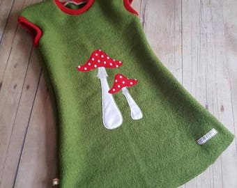 Mushroom Tunic Wool Waldorf Green walk gr. 86-152 Waldorf Dress, Montessori, Pilzkleid, Green, walk, autumn dress, dress, wool, dress