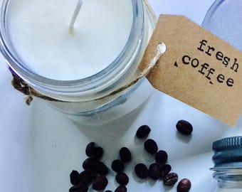 8 oz. Fresh Coffee Pure Soy Candle with Cotton Wick