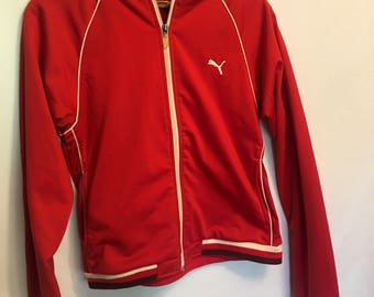 80s Puma Track Jacket Red and White zipper zip up sateen silky stripes striped womens medium pink mauve sporty tave goth health atheletic