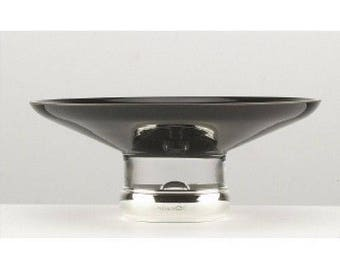 Sterling Silver - Black Glass and Silver BOWL - 7 1/2""