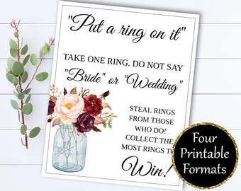 Put A Ring On It Bridal Shower Games -  Dont Say Bride Ring Game - Dont Say Wedding Ring Game - Ring On It Game - Don't say Bride Game