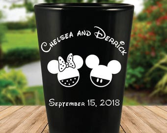 Custom Disney Themed Wedding Favor Black Shot Glasses