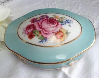 Vintage french porcelain box. Blue china box. Rose pattern. French romantic style. Jewelry box. Trinket box.