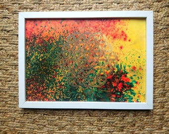 Framed flower of life. Fire and Earth