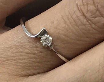 18k gold white gold diamond ring, solitaire, .10ct center promise ring, engagement ring, wedding ring.