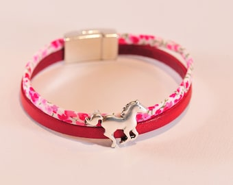 Bracelet leather and Liberty silver horse