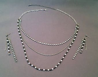 3 strand multi layer necklace & earring set