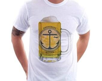 Anchorage City Flag Beer Mug Tee, Home Town Tee, City Pride, City Flag, Beer Tee, Beer T-Shirt, Beer Thinkers, Beer Lovers Tee, Fun Beer Tee