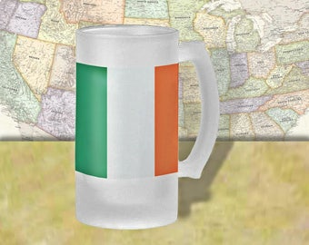 Ireland Flag Beer Mug, Beer Stein, Country Flag, Country Pride, Beer Glass, 16 oz., Frosted Mug, Beer Thinkers, Beer Lovers, Cold Beer