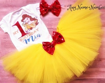 Birthday Outfit Girl, Belle Tutu, Beauty and the Beast Tutu, Belle Shirt, Belle Birthday Outfit, Beauty and the Beast Birthday, Belle Dress